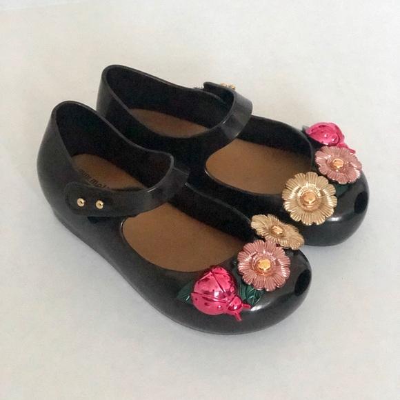 Mini Melissa Mary Jane Toddler Shoes Size 6 Gold Glitter Peep Toe Ballet Shoes